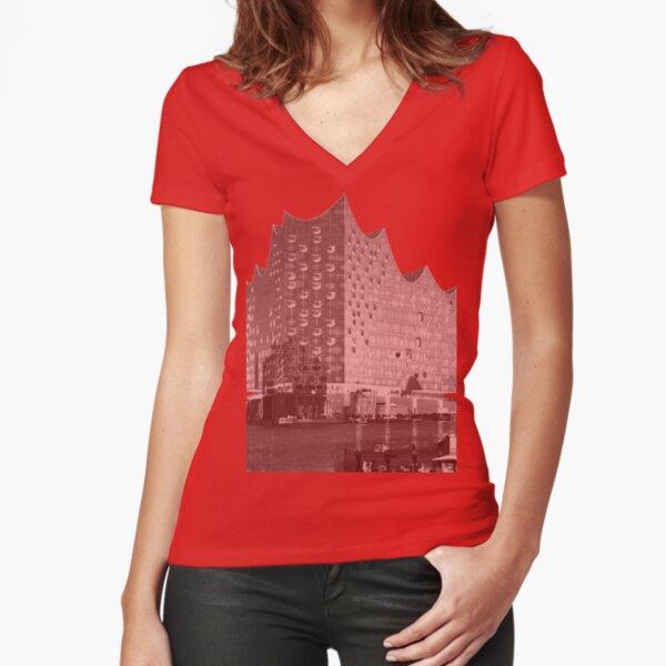 Elbphilharmonie Double Tailliertes T-Shirt mit V-Ausschnitt