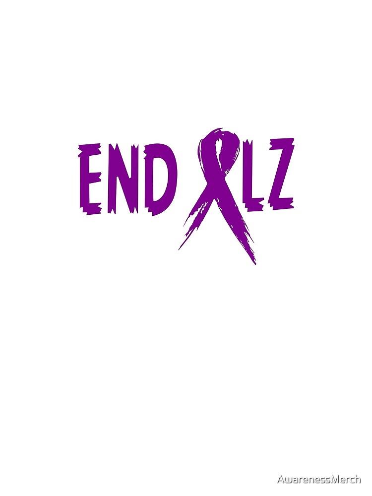 END ALZ Ribbon Alzheimers Awareness by AwarenessMerch