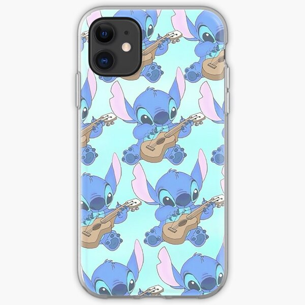 Stitch on his Guitar pattern iPhone Soft Case