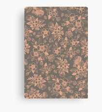 Peach/Pink & Gray Floral Pattern Canvas Print