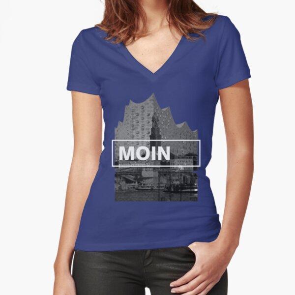 Hamburgs Wahrzeichen Tailliertes T-Shirt mit V-Ausschnitt
