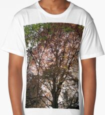 Red leaves in the light of sunset Long T-Shirt