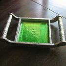 Embossed metal tray with glass accents by Kaz Rhoads