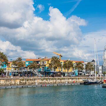 Seaside street in the port of La Rochelle, France by dvoevnore