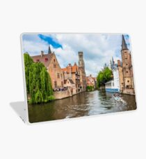 Boats full of tourist enjoying Bruges Laptop Skin