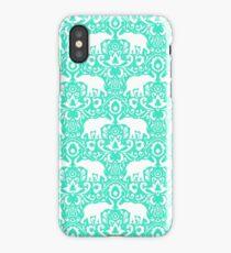 Elephant Damask Mint iPhone Case/Skin