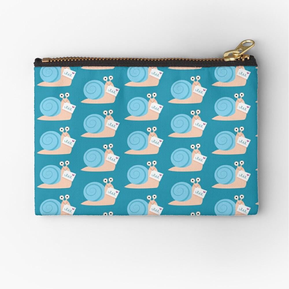 Blue snail mail Zipper Pouch
