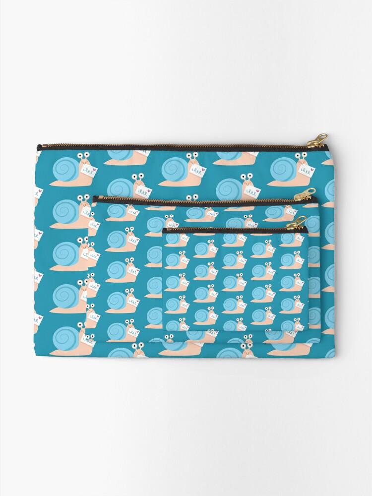 Alternate view of Blue snail mail Zipper Pouch