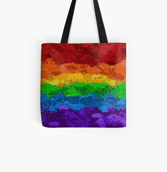 Rainbow Paint Splatter Flag All Over Print Tote Bag