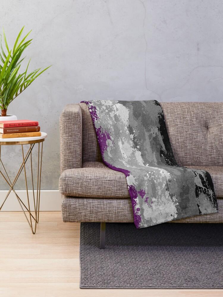Alternate view of Asexual Paint Splatter Flag Throw Blanket
