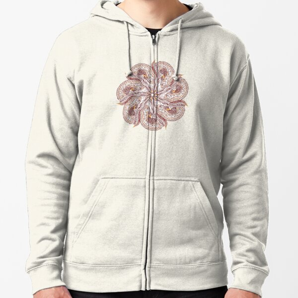 Seven Organic Arms Pods Seeds and Leaf Zipped Hoodie