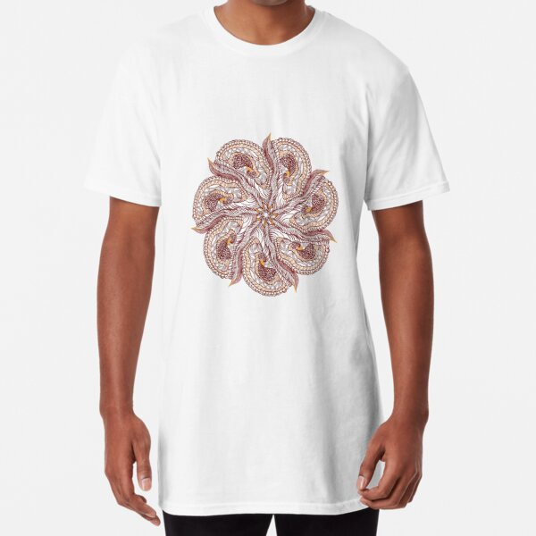 Seven Organic Arms Pods Seeds and Leaf Long T-Shirt