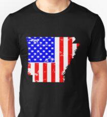 Arkansas am 4. Juli Flaggen-T-Shirt Slim Fit T-Shirt