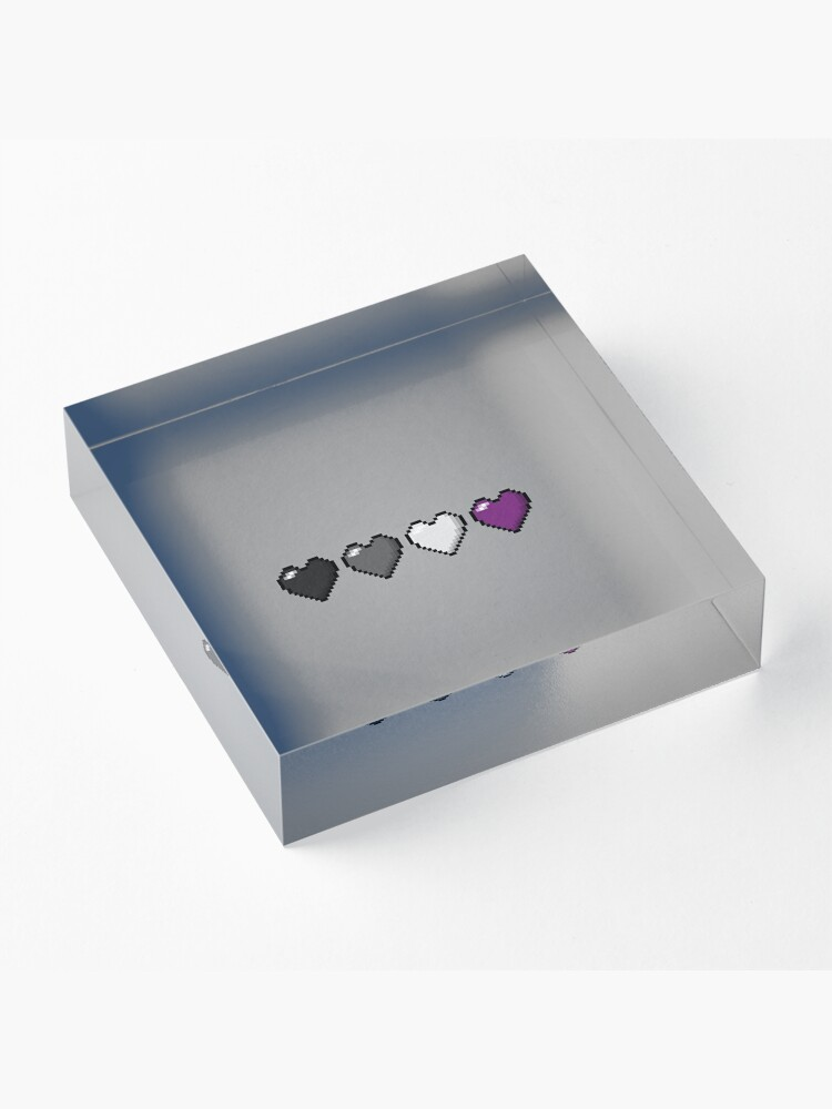 Alternate view of Asexual Pixel Hearts Acrylic Block