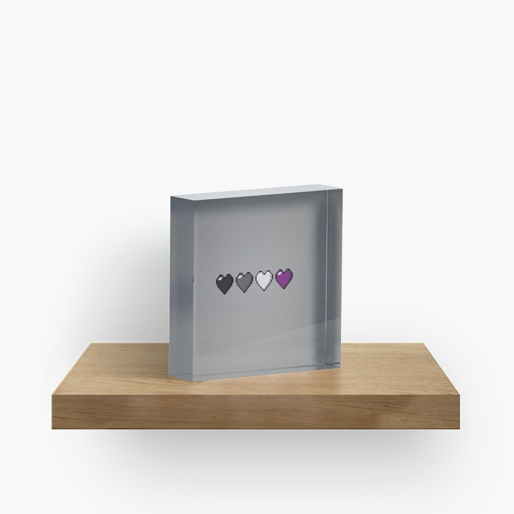 Asexual Pixel Hearts Acrylic Block