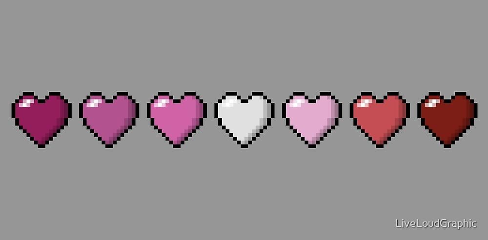 Lipstick Lesbian Pixel Hearts by LiveLoudGraphic