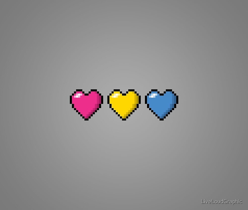 Pansexual Pixel Hearts by LiveLoudGraphic