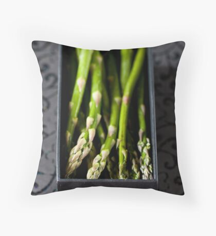 Asparagus in a box Throw Pillow
