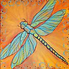 Dragonfly on Orange by Lee Owenby