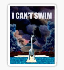 Jurassic World I CANT SWIM Sticker