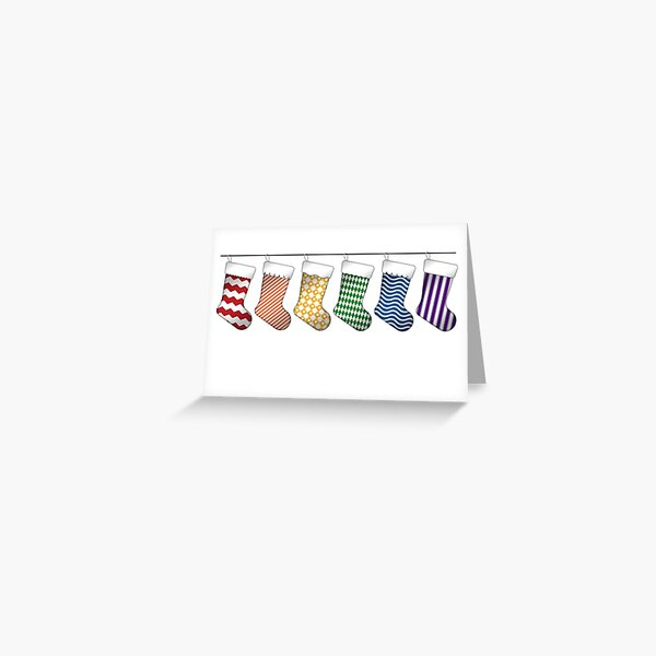 Rainbow Christmas Stockings Greeting Card