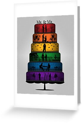 Gay Pride Wedding Cake Greeting Cards By Liveloudgraphic Redbubble