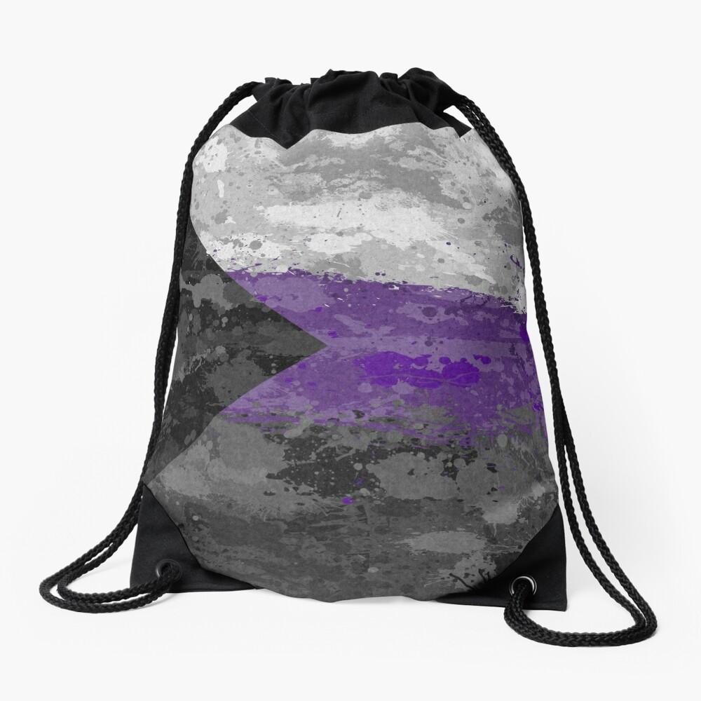 Demisexual Paint Splatter Flag Drawstring Bag