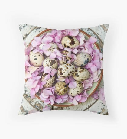 Quail eggs Throw Pillow