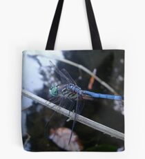 In the shade with a blue dragonfly Tote Bag
