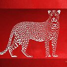 Silver Leopard on Red Canvas by Serge Averbukh
