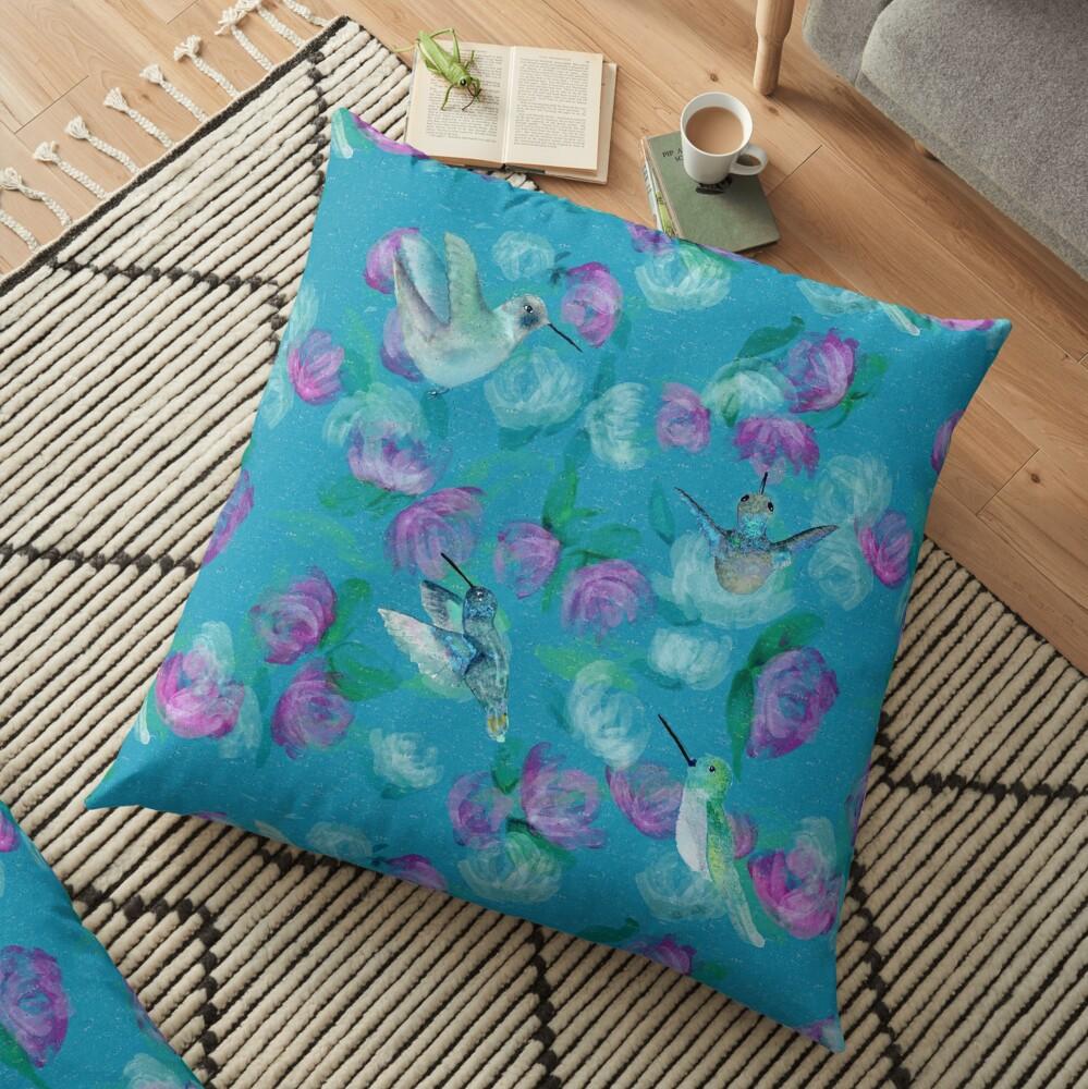 Humminbirds inspired by monet Floor Pillow