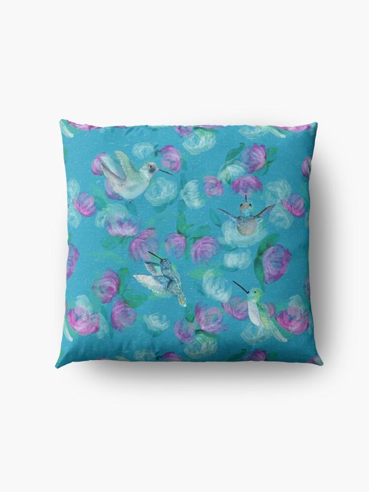 Alternate view of Humminbirds inspired by monet Floor Pillow