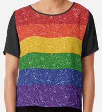 19bb117f6 ... Women's Fitted T-Shirt. Glitter Rainbow Pride Flag Chiffon Top