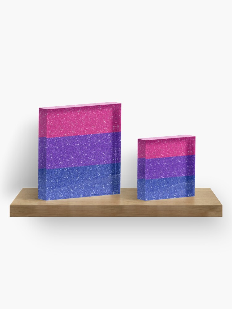 Alternate view of Faux Glitter Bisexual Pride Flag Acrylic Block