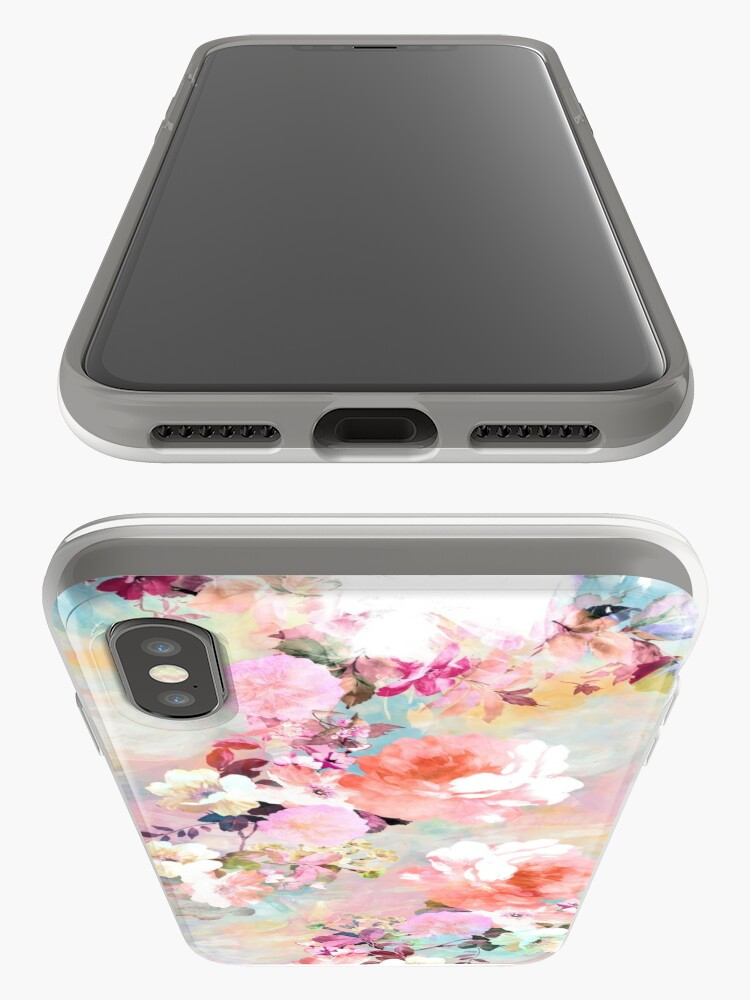 Alternate view of Romantic Pink Teal Watercolor Chic Floral Pattern iPhone Cases & Covers