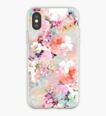 Vinilo o funda para iPhone Romantic Pink Teal Watercolor Chic estampado de flores