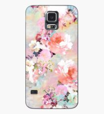 Romantic Pink Teal Watercolor Chic Floral Pattern Case/Skin for Samsung Galaxy