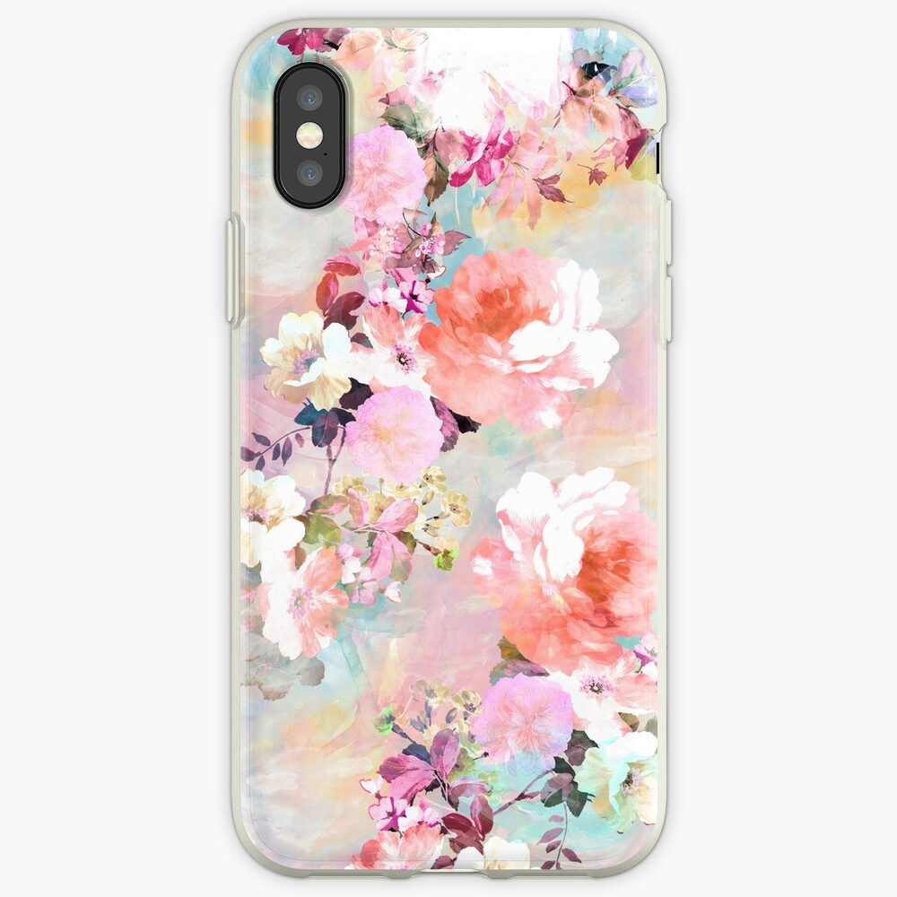 Romantic Pink Teal Watercolor Chic Floral Pattern iPhone Cases & Covers