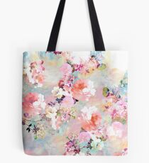 Romantic Pink Teal Watercolor Chic Floral Pattern Tote Bag