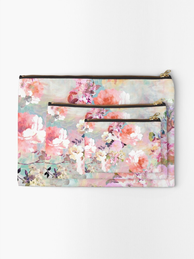 Alternate view of Romantic Pink Teal Watercolor Chic Floral Pattern Zipper Pouch