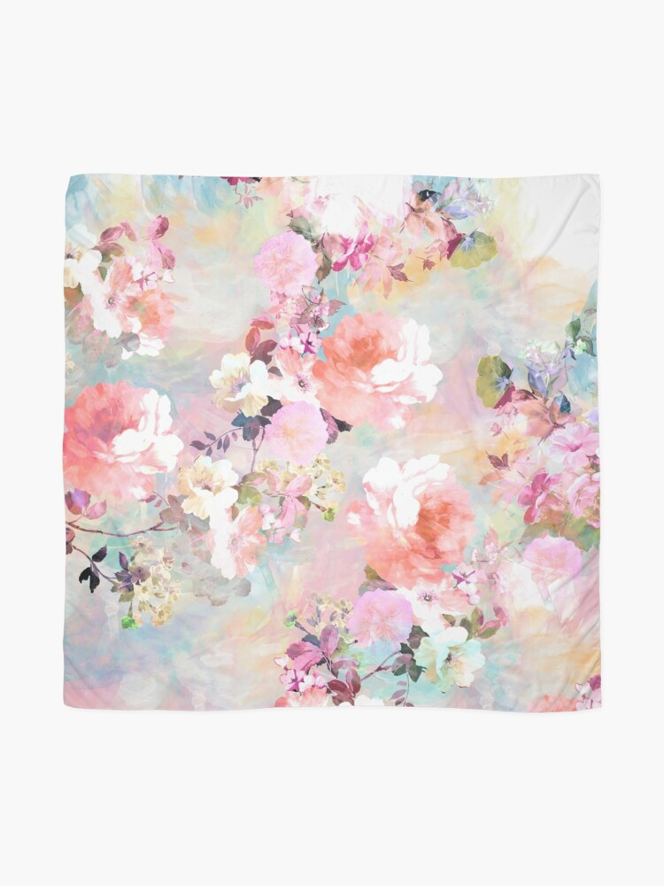 Alternate view of Romantic Pink Teal Watercolor Chic Floral Pattern Scarf