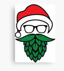 Hipster Santa with Hops Beard for Beer Lovers Canvas Print