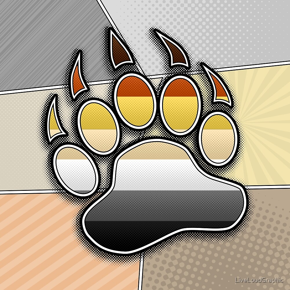 Halftone Bear Paw Symbol by LiveLoudGraphic