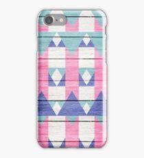 Pink Turquoise Geometric Pattern Gray Wood  iPhone Case/Skin