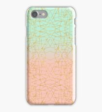Pink Mint Green Ombre Gold Glitter Geometric  iPhone Case/Skin