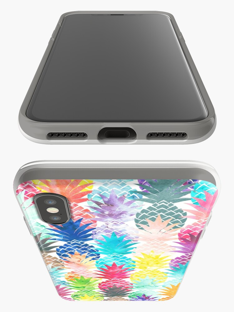 Alternate view of Hawaiian Pineapple Pattern Tropical Watercolor iPhone Cases & Covers
