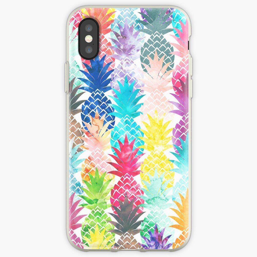 Hawaiian Pineapple Pattern Tropical Watercolor iPhone Cases & Covers