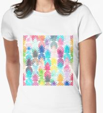 Hawaiian Pineapple Pattern Tropical Watercolor Women's Fitted T-Shirt