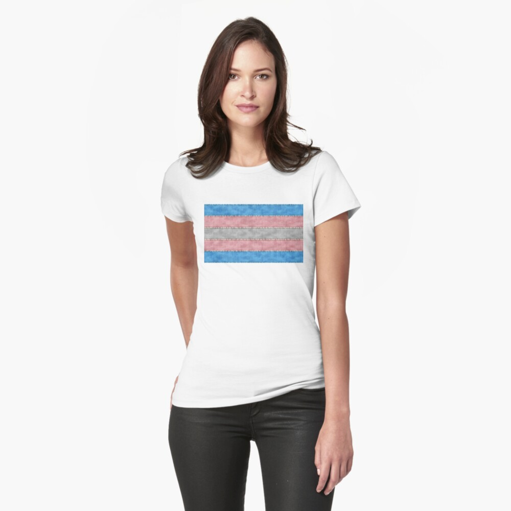 Transgender Denim Flag Fitted T-Shirt