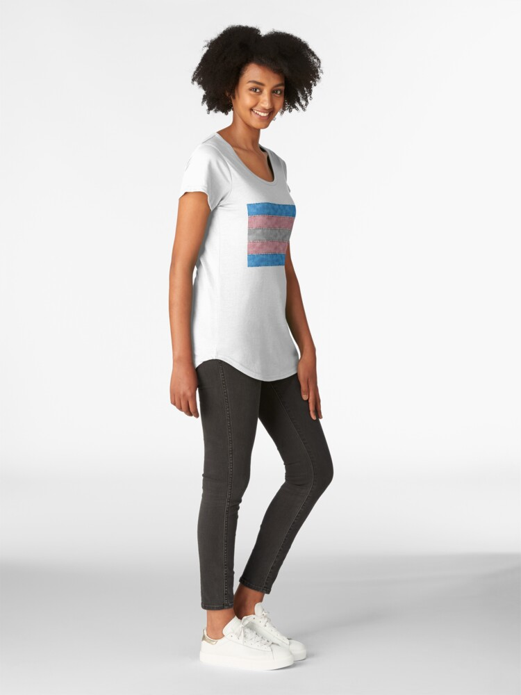 Alternate view of Transgender Denim Flag Premium Scoop T-Shirt